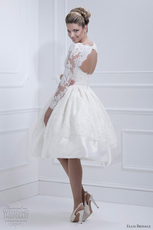 ellis bridals 2013 long sleeve tea length 11317 back