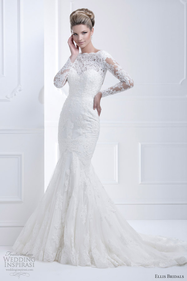 ellis bridals 2013 long sleeve wedding dress 11368 lace closeup