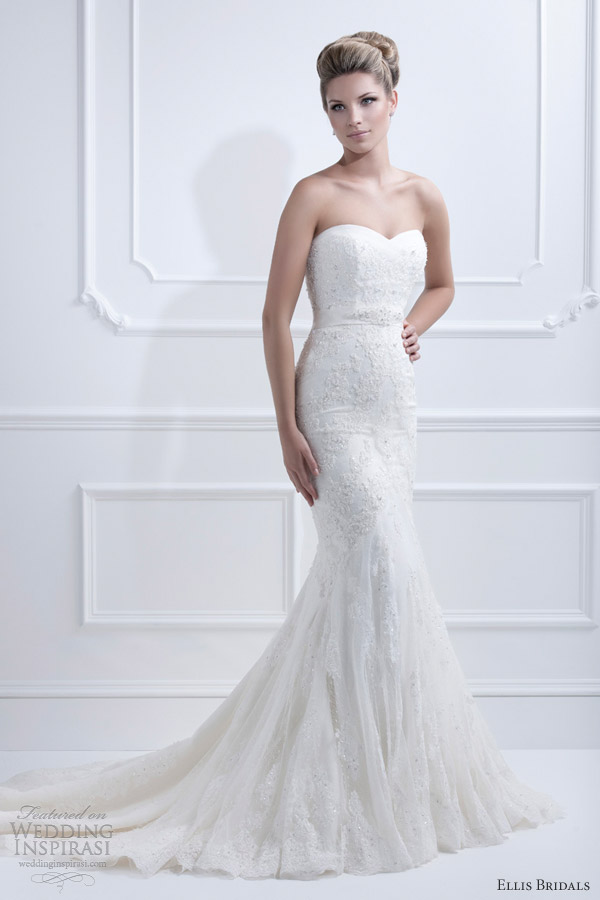 ellis bridals 2013 strapless wedding dress 11330 full