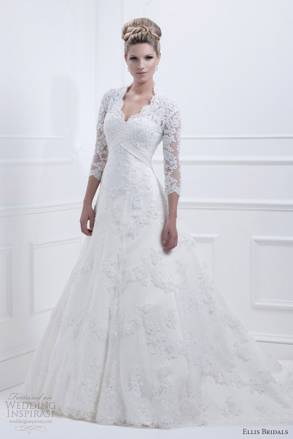 ellis bridals wedding dresses 2013 lace gown sleeves 11326