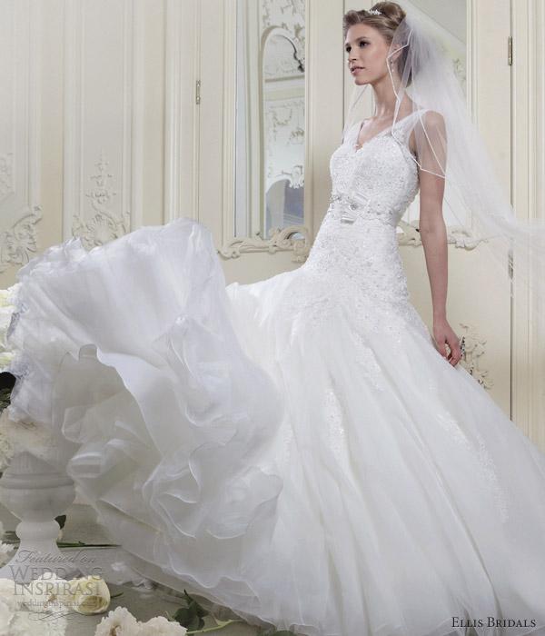 ellis bridals wedding dresses 2013 sleeveless fit flare straps 11364 full
