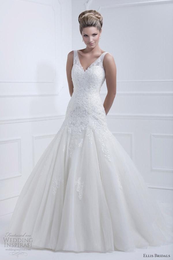 ellis bridals wedding dresses 2013 sleeveless fit flare straps 11364