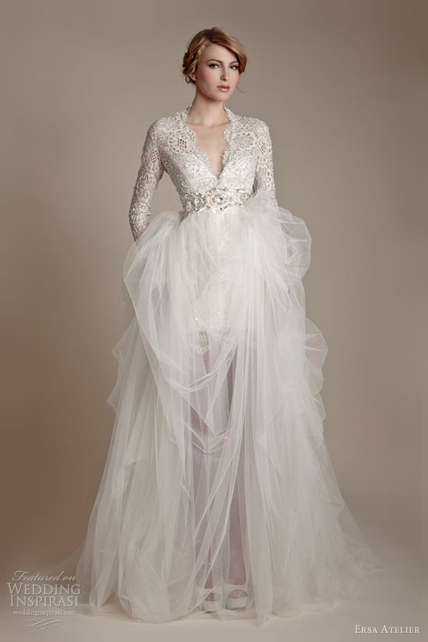 Ersa atelier 2013 wedding dresses wedding inspirasi for Tulle wedding dress with sleeves