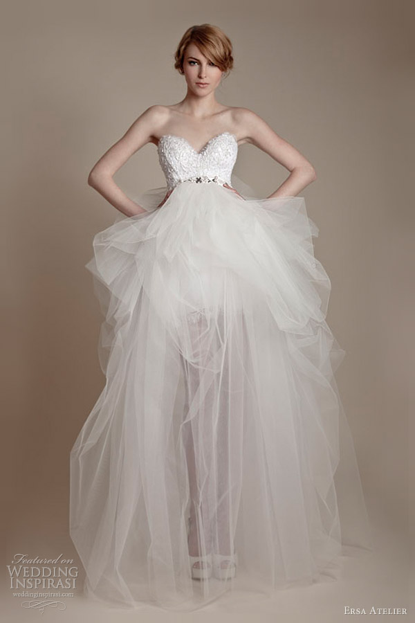ersa atelier 2013 strapless tulle french lace wedding dress
