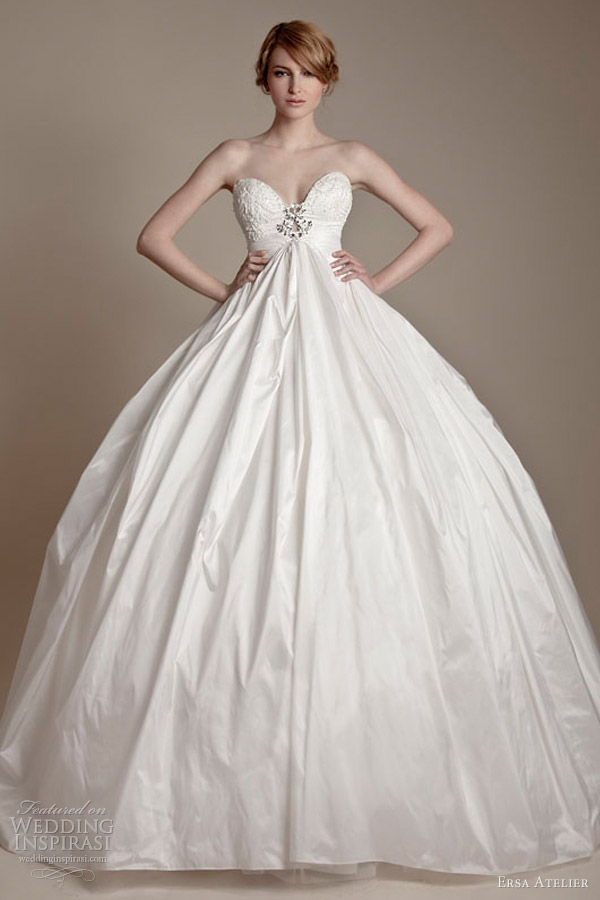 ersa atelier wedding dresses 2013 strapless sweetheart french lace silk taffeta ball gown