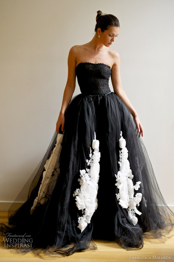 francesca miranda spring 2013 vera black wedding dress ball gown overskirt