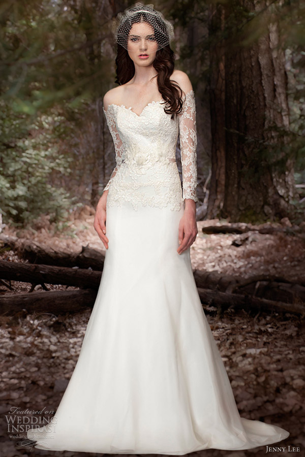 jenny lee wedding dresses spring 2013 long sleece gown style 1306