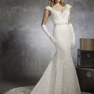 justin alexander bridal spring 2013 v neck cap sleeve mermaid wedding dress 8654