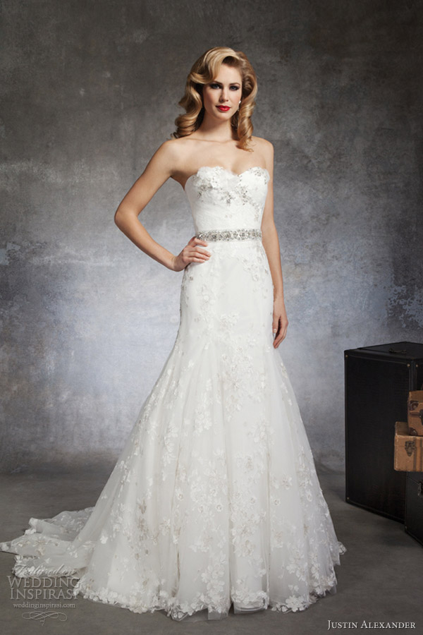 justin alexander wedding dresses spring 2013 strapless fit flare gown flower applique 8663
