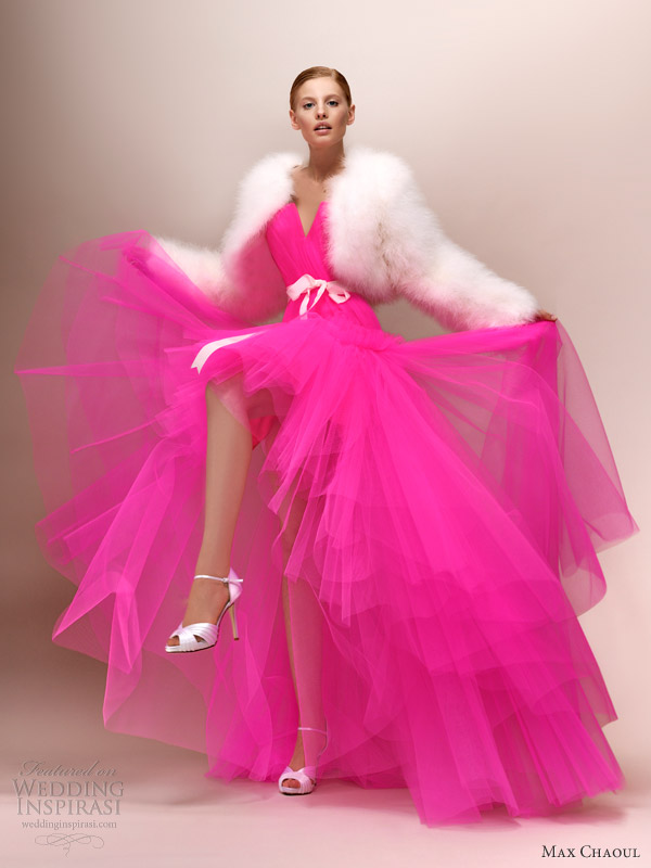 katy bright neon pink wedding dress max chaoul 2013 bridal