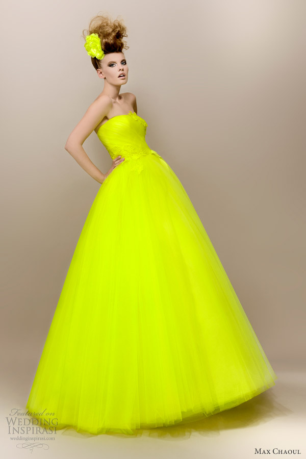 Max Chaoul 2017 Anna 1950s Style Neon Yellow Green Wedding Dress