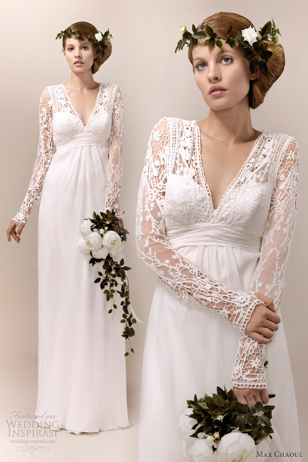 max chaoul 2013 lana wedding dress 1940s long sleeve bridal gown
