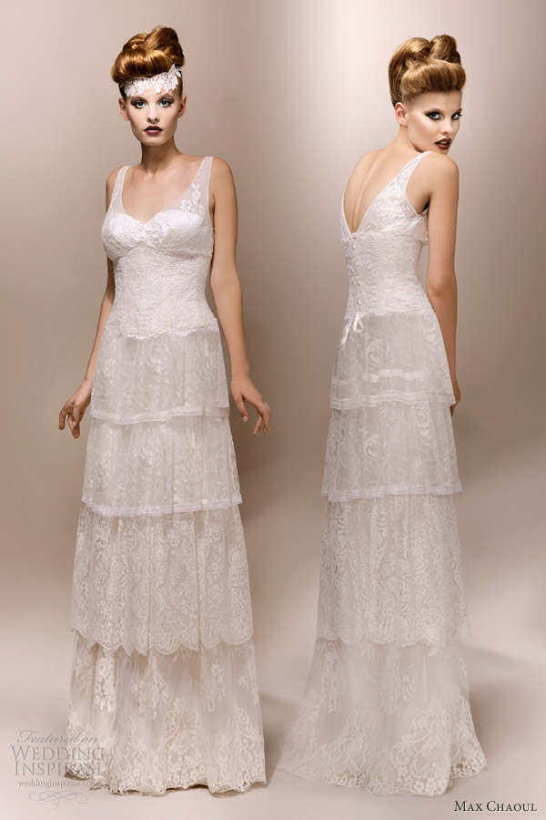 max chaoul bridal 2013 gloria 1930s lace wedding dress
