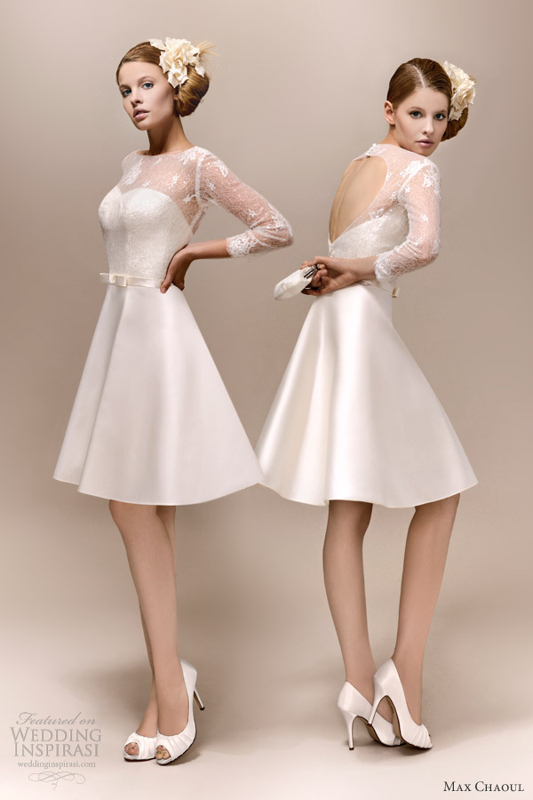 max chaoul bridal 2013 romy 1960 short wedding dress long lace sleeves