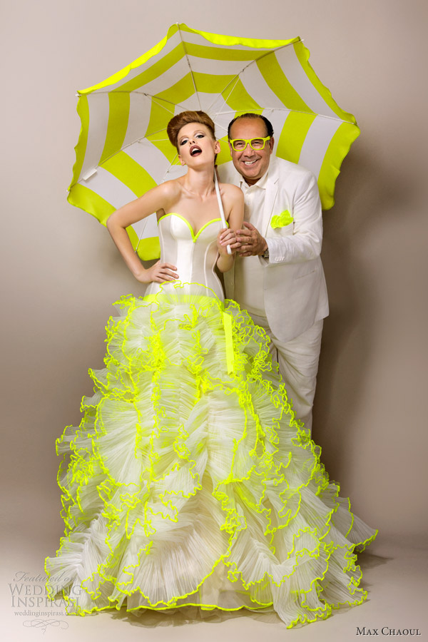 max chaoul couture bridal 2013 adriana neon green wedding dress