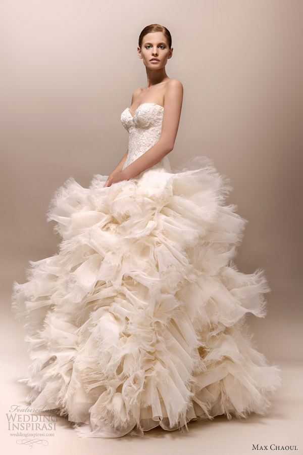 Max chaoul couture 2013 wedding dresses wedding inspirasi for Wedding dresses with ruffles