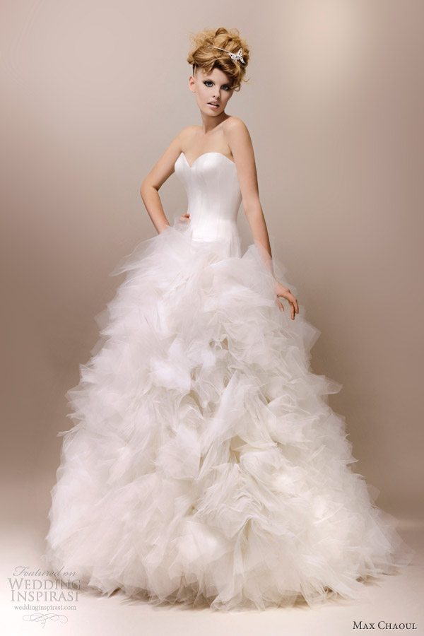 max chaoul wedding dresses 2013 meryl ball gown ruffle skirt