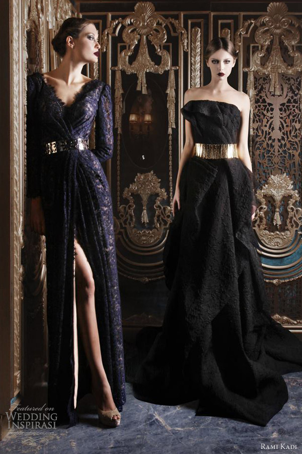 rami kadi 2012 2013 haute couture dark blue lace dress black gown