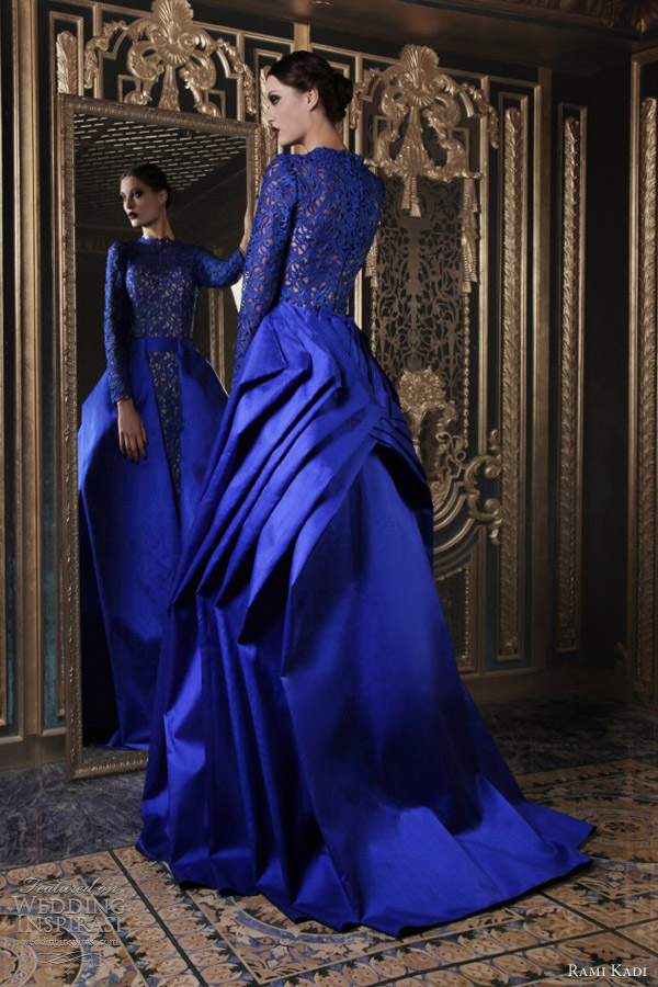 rami kadi 2013 couture bright blue shantung guipure long sleeve dress