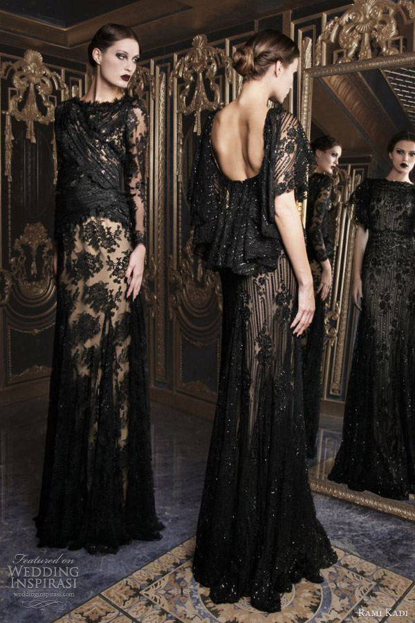 rami kadi couture 2012 2013 hand embroidered black lace dresses