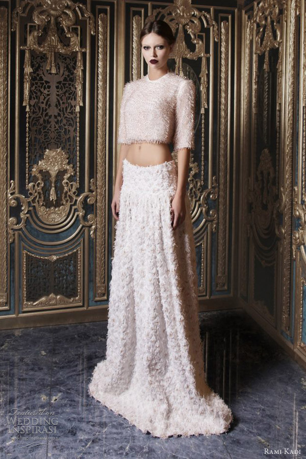 rami kadi couture 2013 hand embroidered half sleeve top tweed gown
