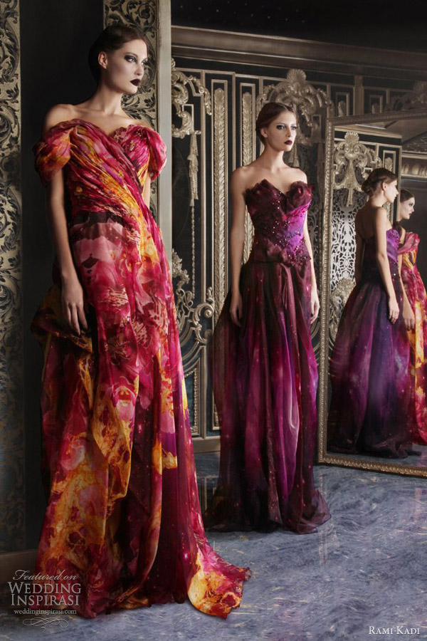 rami kadi couture 2013 multi color print strapless draped silk organza gowns