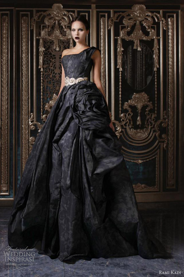 rami kadi couture 2013 one shoulder draped silk taffeta gown