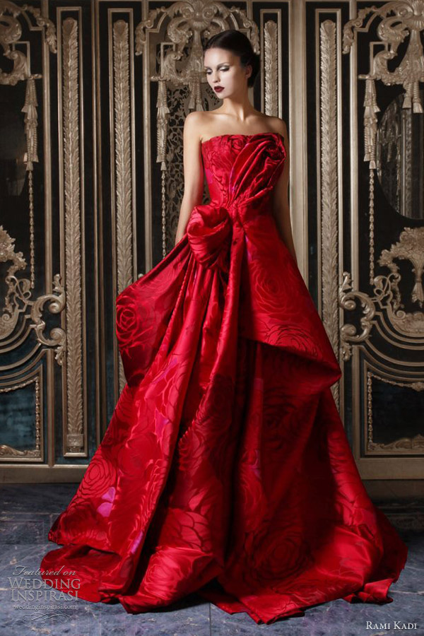 rami kadi couture fall 2012 2013 red silk jacquard draped ball gown