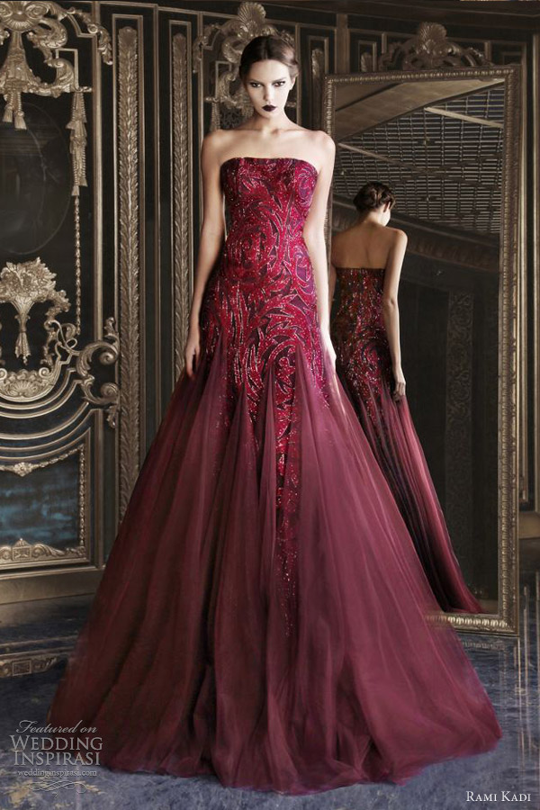 rami kadi wedding dress 2013 couture red strapless tulle dress