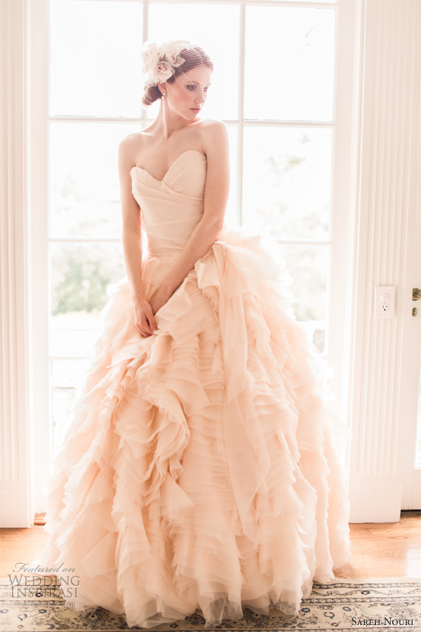 Sareh nouri wedding dresses spring 2013 wedding inspirasi for Pink ruffle wedding dress