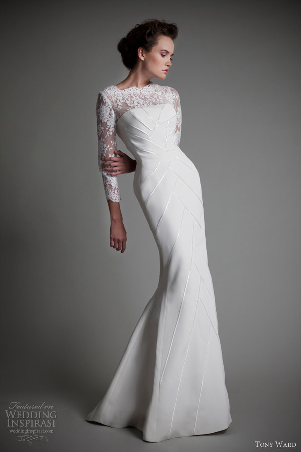 tony ward 2013 bridal long sleeve wedding dress jasmine blanc
