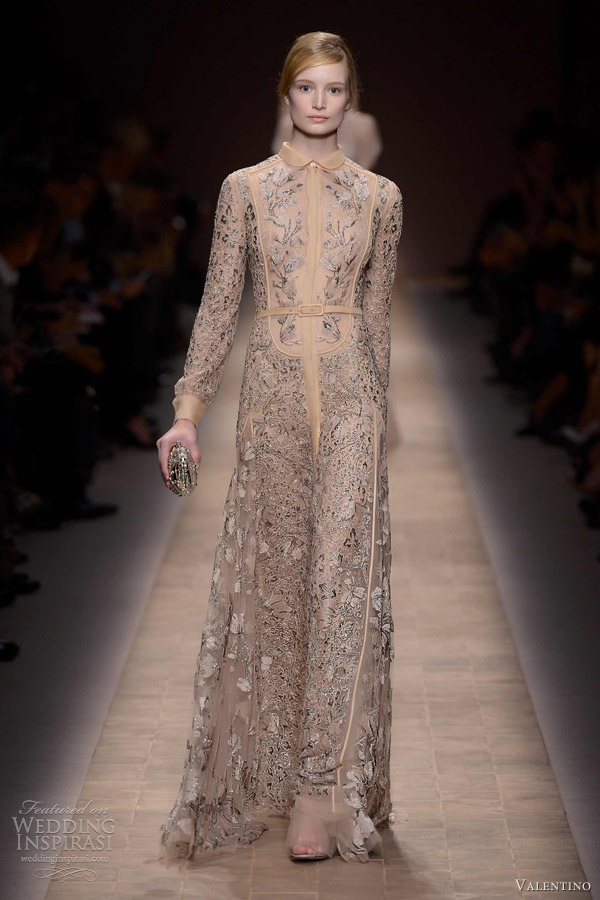 valentino spring 2013 long sleeve collar gown