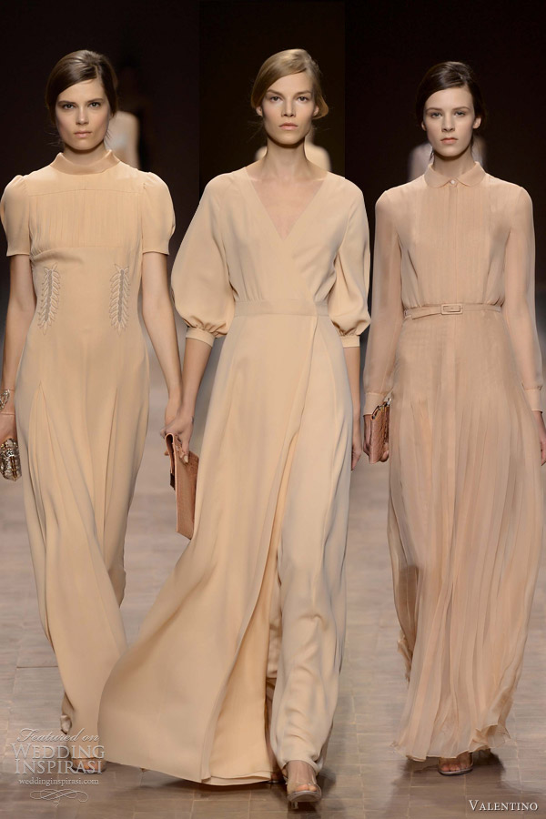 valentino spring summer 2013 pale peach beige dresses with sleeves