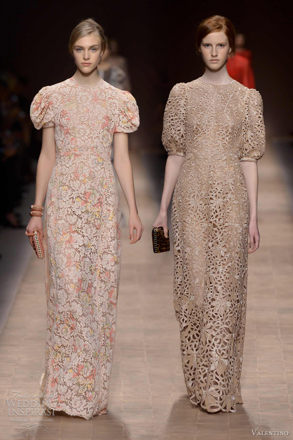 valentino spring summer 2013 puff sleeve lace dresses