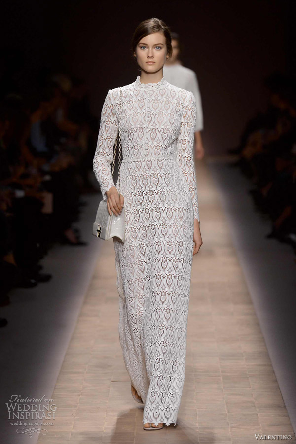 valentino spring summer 2013 ready to wear long sleeve white lace dress