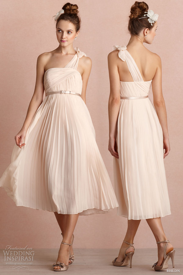 bhldn 2013 bridal marchioness one shoulder short rose pink wedding dress