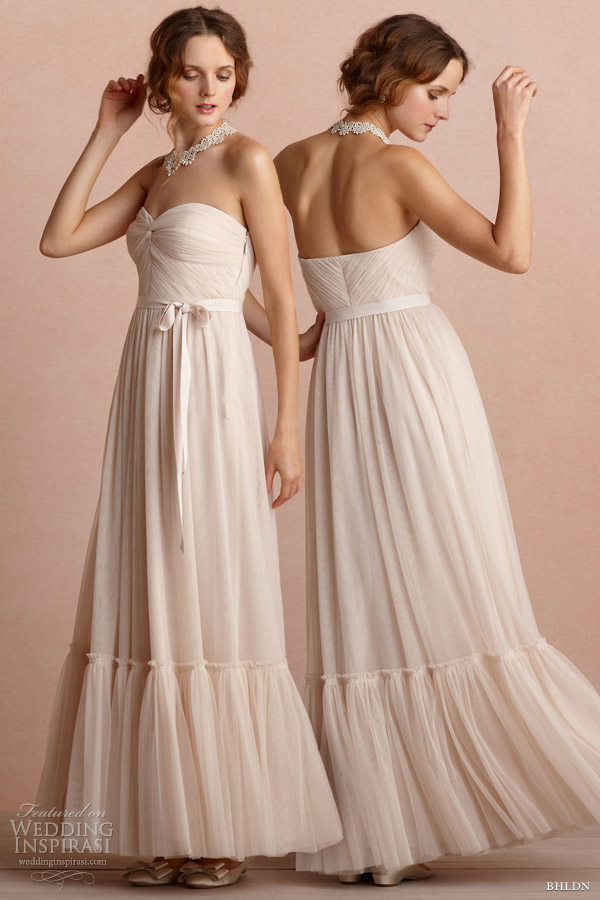 bhldn bridal 2013 strapless niceties pink wedding dress