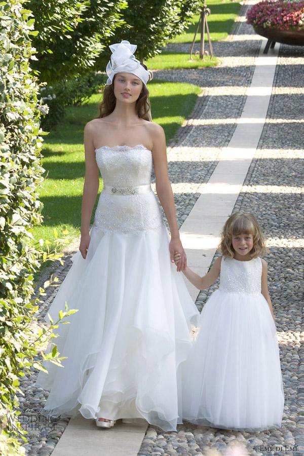 eme di eme bridal 2013 strapless wedding dress flower girl