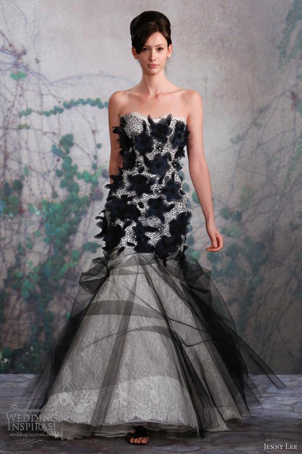 jenny lee bridal fall 2013 black white wedding dress 1325