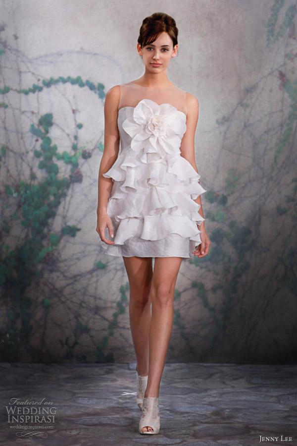jenny lee fall 2013 bridal short sleeveless wedding dress 1316