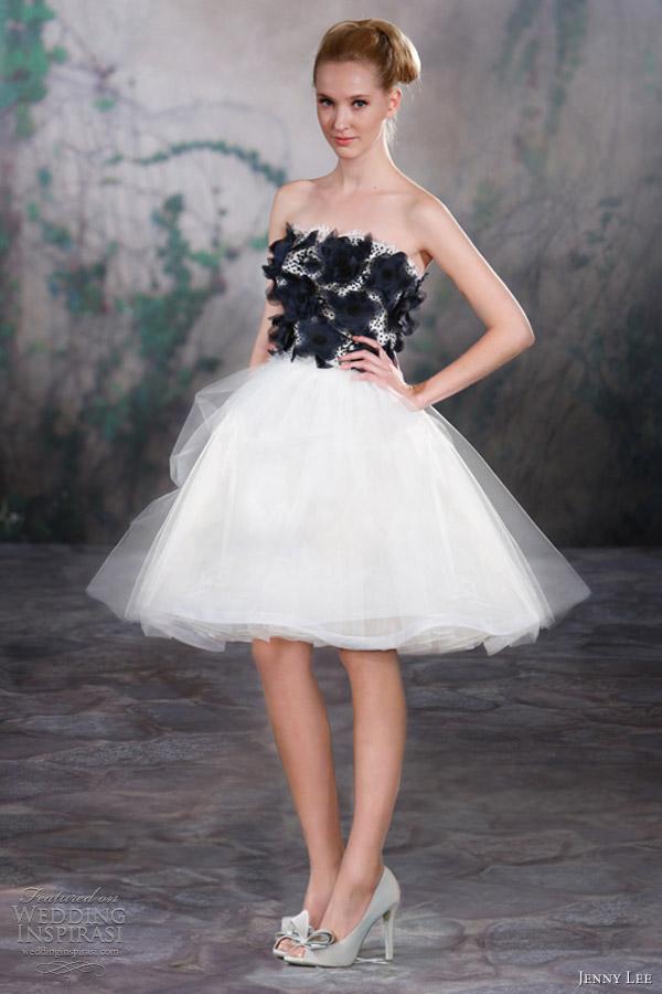 jenny lee short wedding dresses fall 2013 black white dress 1321