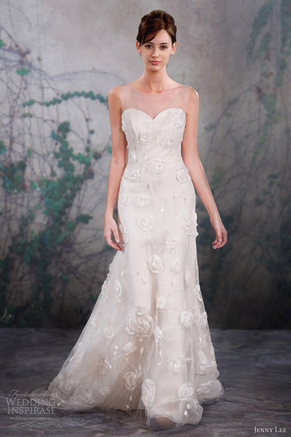 jenny lee wedding dresses fall 2013 sleeveless gown illusion straps 1322