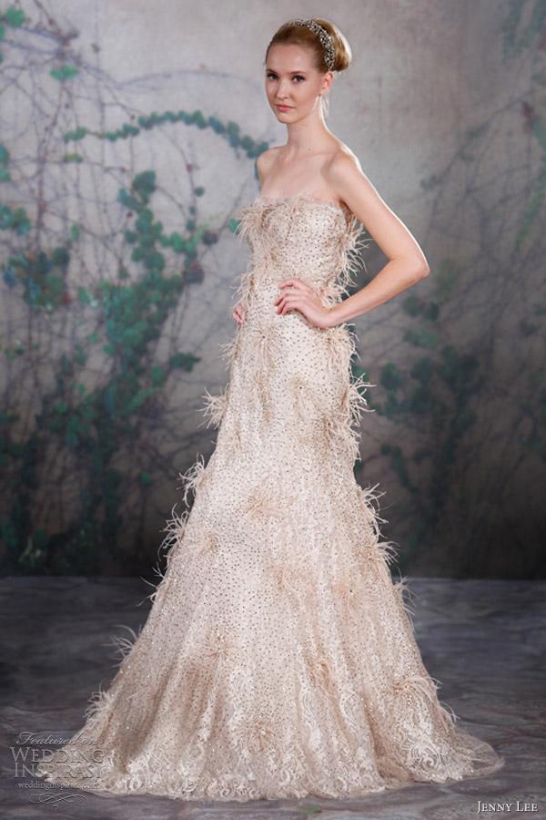 jenny lee wedding dresses fall 2013 strapless feather gown 1326