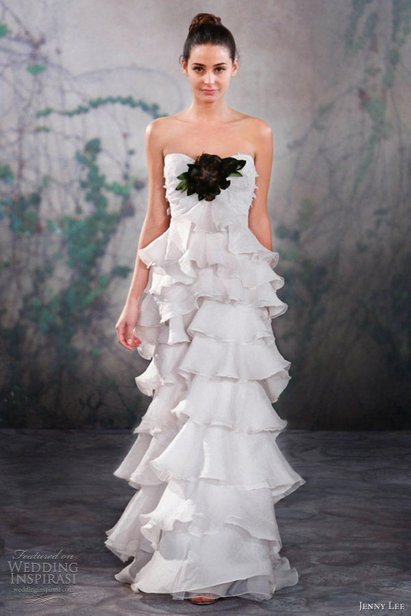 jenny lee wedding dresses fall 2013 strapless tiered gown 1324