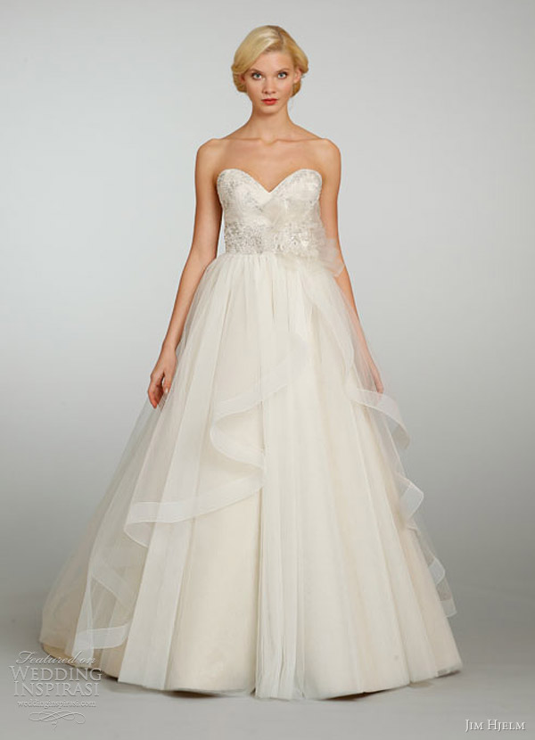 jim hjelm bridal spring 2013 tulle ball gown crystal embroidered sweetheart cascade skirt chapel train 8301