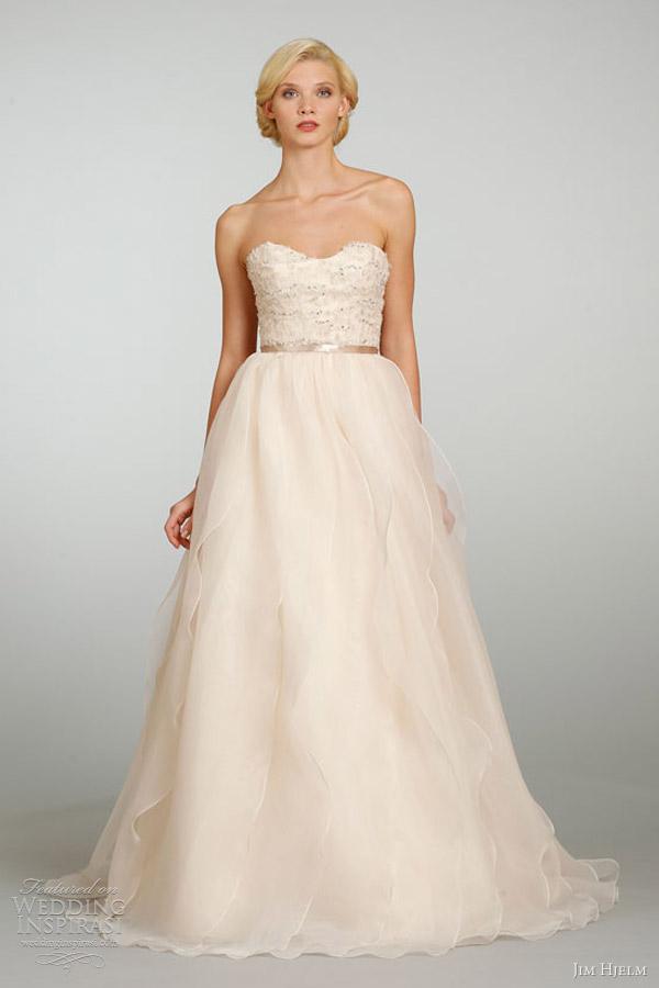 jim hjelm spring 2013 a line gown strapless embroidered beaded 8319