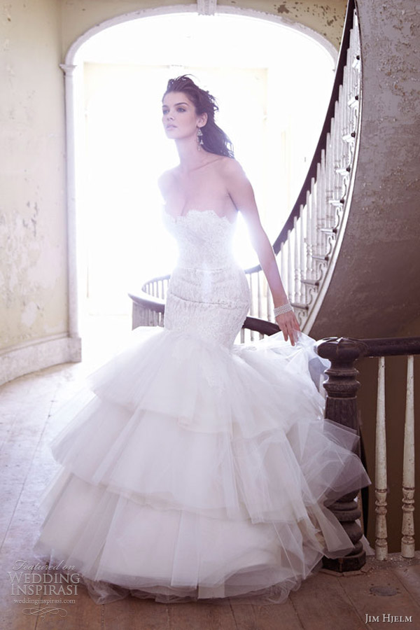 jim hjelm wedding dresses spring 2013 charmeuse tulle strapless gown beaded lace tiered skirt 8302