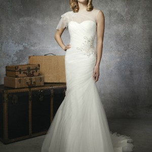 justin alexander bridal spring 2013 wedding dress style 8651 illusion bateau neckline jeweled shoulder flutter cap sleeve