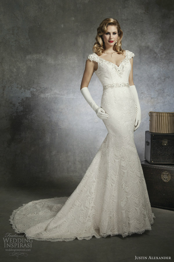 justin alexander bridal spring 2013 wedding dress style 8654 cap sleeve venice lace mermaid gown