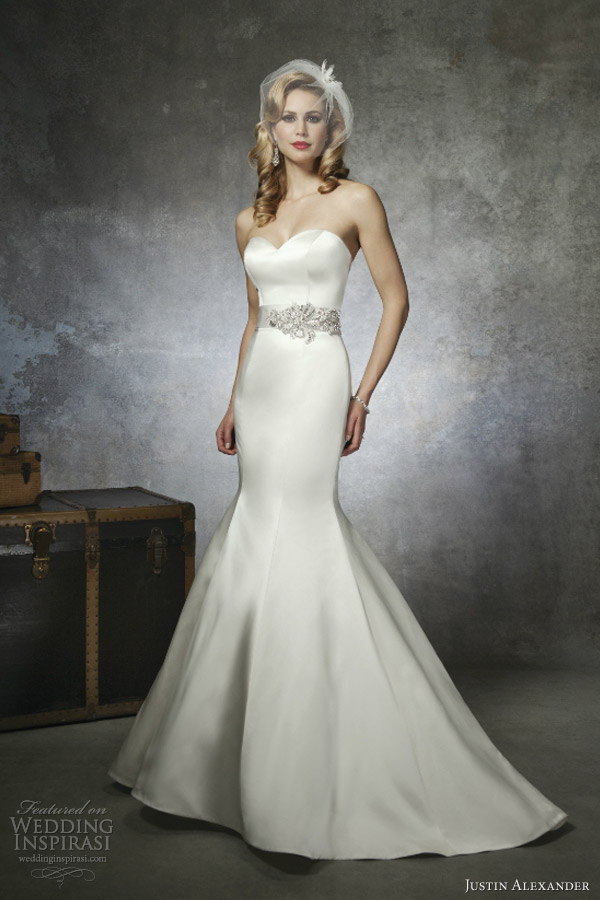 Justin alexander bridal spring 2013 sponsor highlight for Satin mermaid style wedding dresses